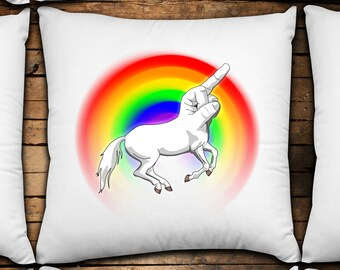 F-Unicorn 14x14 Decorative Throw Pillow Cover - 100% cotton,custom made,unique design,fun decor,geeky decorations,nerdy,insult pillow