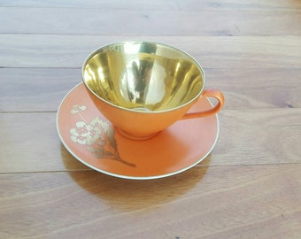 Vintage Collectible Dorothy Thorpe PERSIMMON Gold Embellished Tea Cup & Saucer Set