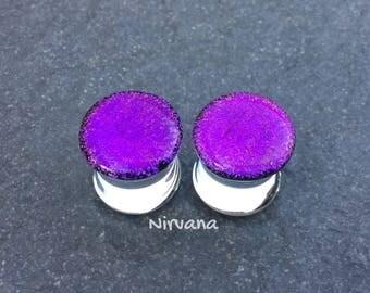 "New Hot Purple Dichroic Glass Plugs 10g 8g 6g 4g 2g 0G 00g  7/16"" 1/2"" 9/16"" 5/8"" 3/4"" 7/8"" 1"" 2.5 mm 3 mm 4 mm 5 mm 6 mm - 25 mm"