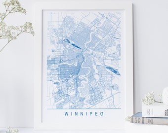 WINNIPEG MAP - Minimalist Winnipeg Art Print, Customizable City Map, High Quality Giclee Print, Modern Map Art