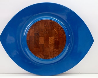 Dansk Festivall Lacquer and Teak Tray Jens Quistgaard Blue Eyeball Serving Tray Danish Modern Platter