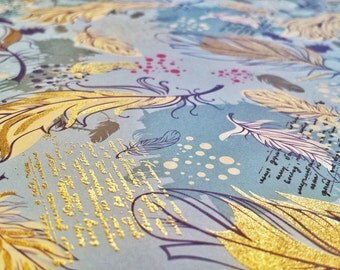 Blue Rhapsody - Wrapping Paper/Gold Embossed/Sheet Style/Cute/Pretty/Unique/Kawaii/Holiday/Fancy/Wedding/Gift Wrap/Fun/Elegant/Occasion
