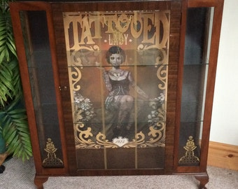 NOW SOLD - Unusual Upcycled Tattooed Lady Vintage Display Cabinet, Steampunk Unique. No.11. SOLD