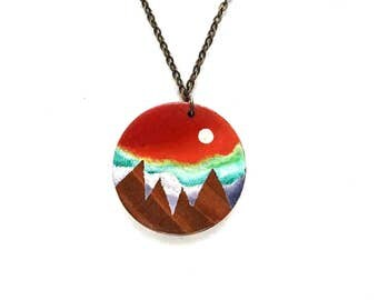 Mountain Necklace, Mountain Jewelry, Wood Pendant, Mountain Pendant, Nature Lover Gift, Hiking Gift, Sun Necklace, Painted Necklace