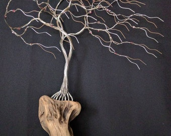Astonishing wall hanging wire tree mounted to NW driftwood with Sapphire Gold beads is 17 inches tall 12 inches wide. Sculpture #170209
