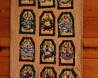 """12 Days of Christmas fabric art décor/ 52 3/4"""" X 26""""/ Medieval Story Book quilted wall hanging/ Childhood poetry stained glass Christmas art"""