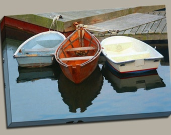 3 Rowboats at Dock Gallery Wrap Canvas Photo Print Fine Wall Art, Cape Cod Blue Water Orange Row Boat Fishing Boating Ocean Summer Nautical