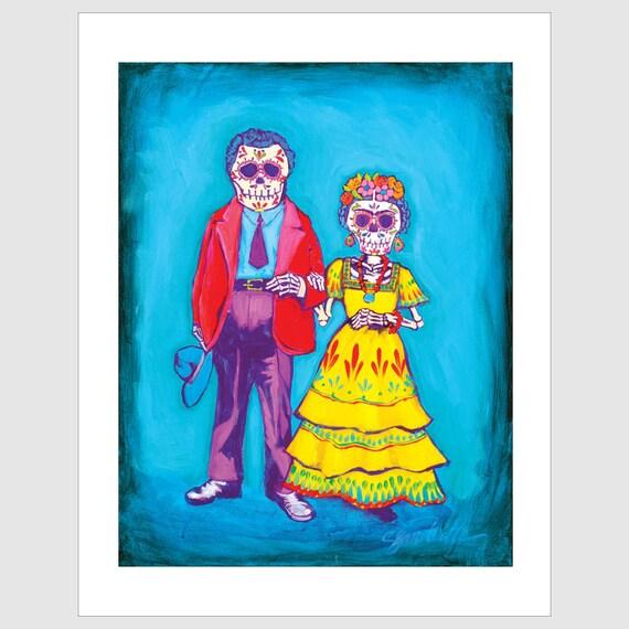 Frida Kahlo & Diego Rivera 6x9 Greeting Card By Sean Wells//
