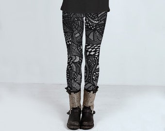 Printed leggings, punk rocker leggings, black and white yoga pants, line drawing, by Felicianation Ink