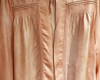 1930s Nylon Bed Jacket - Rare Long Sleeve - cutwork netting trim, elastic around wrists, Size Medium, Great Condition, ties at collar