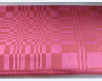 Vintage Swedish Woven Square Tablecloth, 2 Tone Pink Geometric Optic Check