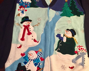 Wow!!! Tacky! Woman's Size Medium Ugly Christmas Cardigan Sweater, Snowmen, Christmas Trees, Houses, So much Detail, Clean!