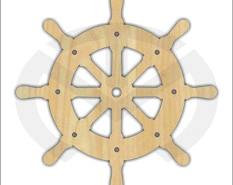 Unfinished Wood Ship Wheel Laser Cutout, Home Decor, Salt Life, Ocean, Nautical, Door Hanger, Nursery Decor