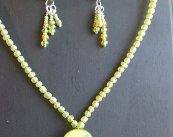 Handmade green beaded necklace and earring set