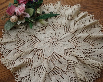 "Vintage Round Crocheted Doily, 14"", Large, Ecru Colored, ruffled, Cotton crochet, victorian, country, french country, shabby chic decor"