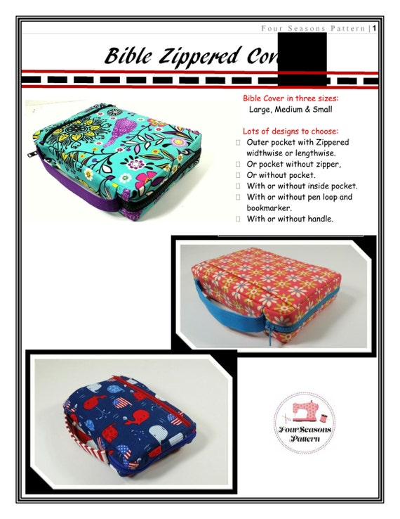 Bible Cover Book Organiser Pattern ~ Bible cover sewing pattern digital