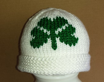 White with Green Shamrock Baby Hat - Size 0 to 6 Months