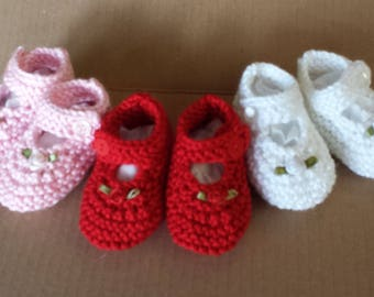 Baby's First Mary Jane's in Red, Pink and White - Size 3 to 6 Months