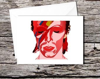 "David Bowie ""Aladdin Sane"" high quality greetings card (A5 folds to A6, or A4 folds to A5)"