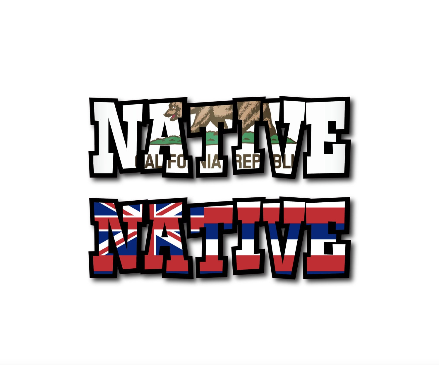 Native California Republic Bear OR Hawaii State Flag Custom - Custom vinyl decals hawaii