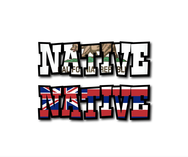 Native California Republic Bear OR Hawaii State Flag Custom - Custom vinyl decals hawaii