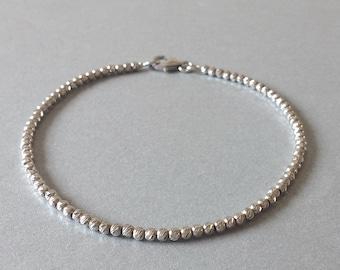 White gold bead bracelet, 14k gold bead bracelet, Solid gold bead bracelet