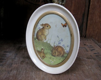 Madryn Plaque, Madryn Ceramic, Rabbit Plaque, Vintage Madryn, Vintage Rabbit Picture, Baby Rabbit, Bunny Rabbit, Rabbit Print, Rabbit Gift,