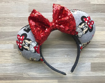 Red and Gray Minnie Mouse Ears