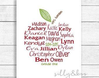 Custom Teacher Appreciation, Teacher Gift, Apple Word Art, Student Names, Thank You Gift, DIGITAL FILE ONLY