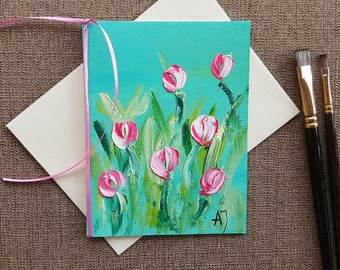 Original oil painting Tulip art Tulip painting Flower art Hand painted card Card for wife Card for mom Card for bride Hand made card Art