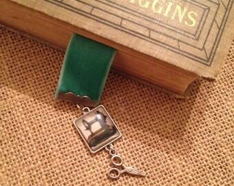 Velvet Ribbon Green Sewing Bookmark