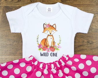 Wild One Fox Girls Birthday Outfit | One | Girls 1st Birthday Outfit with Pink and White Polka Dot Twirl Skirt | Baby 1st Birthday Outfit