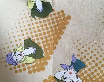 70s WOMEN'S FACES SCARF / vintage face 20s taupe tan bandana headscarf novelty print