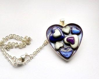 Blue Silver and Purple Hearts Pendant