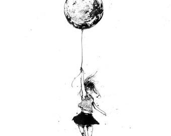 Balloon Girl, Minimalist ink Art, Girls Wall Art, Art Decor, Minimalist Art, Black and White Art, Home Wall Decor, Art Prints, Ink Art, Fly