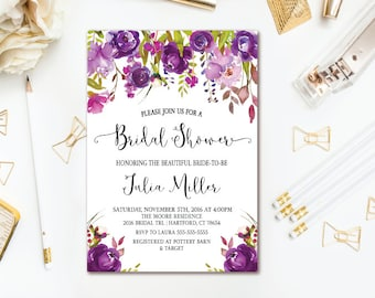 Purple Bridal Shower Invitation - Watercolor Floral Wedding Shower - Printable Invites