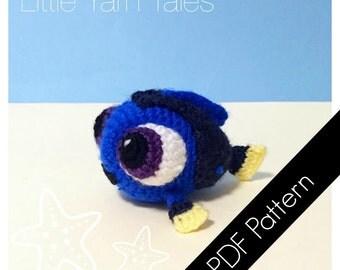 Amigurumi Baby Blue Tang (Baby Dory Inspired) - PDF Written Pattern (Digital Item)