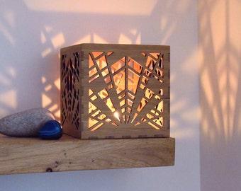 Art Deco Lantern, Wooden Candle Holder, Art Deco Tea Light Holder,  Geometric Candle Holder, Personalised Gift, 5th Anniversary, Housewarming