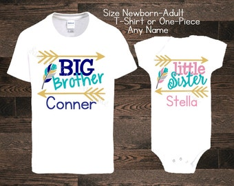 Big Brother Little Sister Sis Bro Baby Personalized Custom Shirt one piece bodysuit body suit dinos pregnancy announcement i'm pregnant