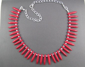 Red Necklace, Red Tusk Howlite Gemstone and Sparkling Silver Statement Necklace