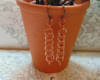 Copper Dragon Tail Earrings