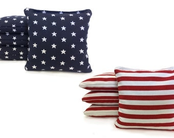 8 Regulation All Weather Cornhole Bags. Stars & Stripes USA Handmade. Free  Shipping! American Flag Bags W/ Free Tote!