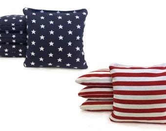 8 Regulation All Weather Cornhole Bags. Stars & Stripes USA Handmade. Free  Shipping! American Flag Bags W/ Free Tote!