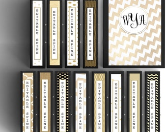 12 MONOGRAM Background and Binder INSERTS/ Covers with Spines and matching back! Custom binder covers!
