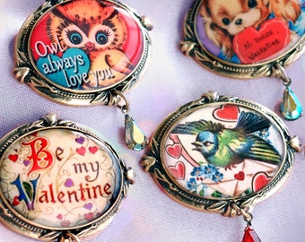 Valentine's Day Gift, Vintage Valentine Jewelry, Valentine's Day Brooch, Love Pins, Be My Valentine, Holiday Pin, Gift for Her, Gift Set