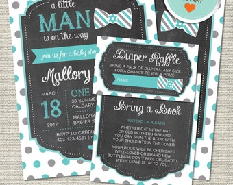 Little Man Baby Shower Invitation, Little Man Invitation, Little Man, Teal, Gray, Polka Dots | DIY