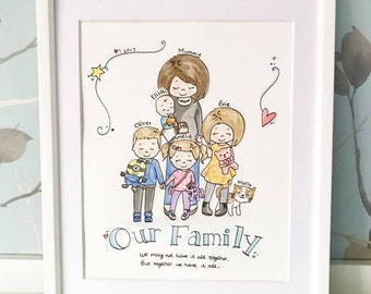 "New Style 8"" x 10"" Family Portrait Original Watercolour Illustration"