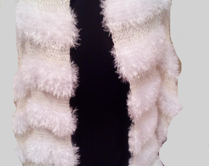fluffly white shoulder long wrap impressive smooth shawl hand knitted lightweight soft touch elegant chic valentine's gift by mademeathens