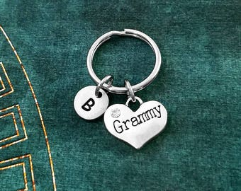 Grammy Keychain VERY SMALL Heart Keyring Grandma Keychain Mother Keychain Grandmother Keychain Mothers Day Charm Keychain Personalized Gift