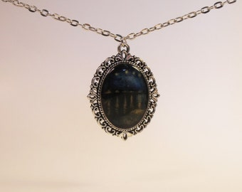 Van Gogh's Starry Night Over the Rhone Painting Necklace